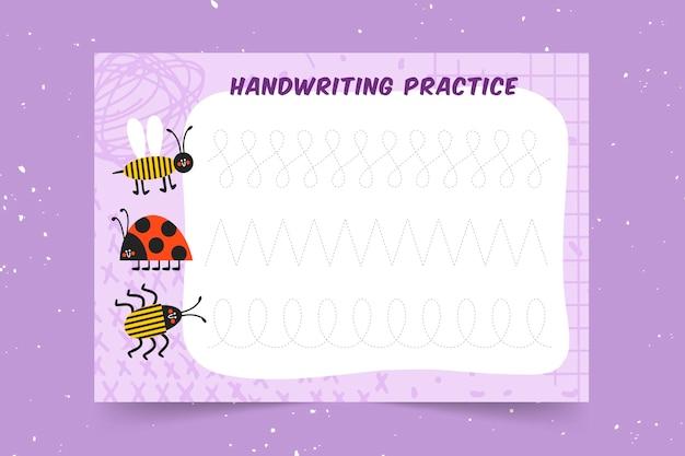 Pädagogische handschriftpraxis für kinder Kostenlosen Vektoren
