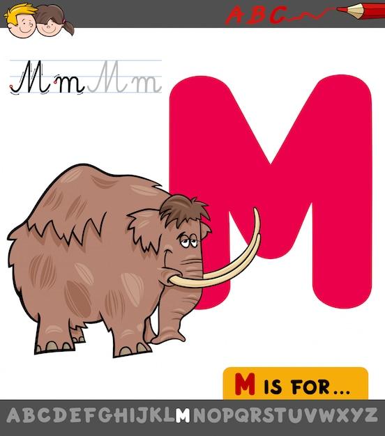 Pädagogische karikatur-illustration von buchstaben m mit mammut Premium Vektoren