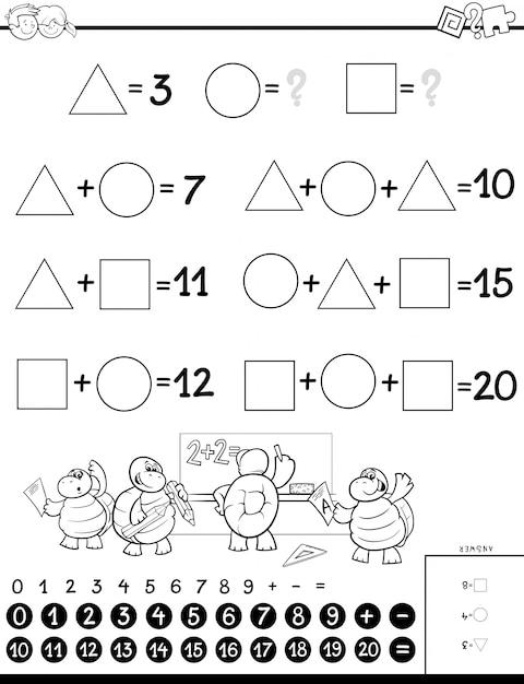 Pädagogische mathematische berechnung puzzle für kinder Premium Vektoren