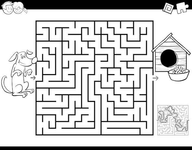 Pädagogisches labyrinth-spiel mit hund und hundehütte Premium Vektoren