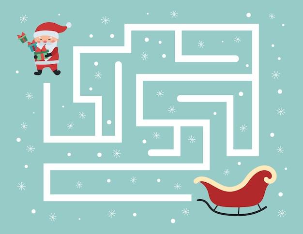 Pädagogisches labyrinthspiel für kinder im vorschulalter, hilf dem weihnachtsmann mit geschenken, den richtigen weg zu seinem schlitten zu finden Premium Vektoren