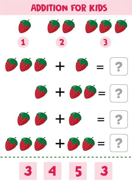 Pädagogisches mathekinderspiel mit erdbeere für kinder. Premium Vektoren