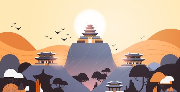 Pagodengebäude im traditionellen stil pavillonarchitektur asiatische landschaft landschaftshintergrund horizontal Premium Vektoren