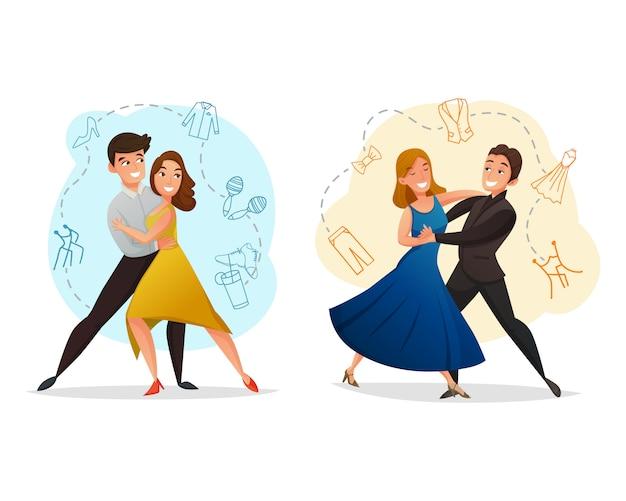 Pair dance 2 vorlagen festgelegt Kostenlosen Vektoren