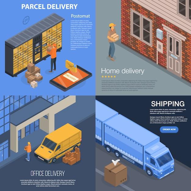 Paket-lieferungs-fahnensatz. isometrischer satz der paketlieferungs-vektorfahne für webdesign Premium Vektoren