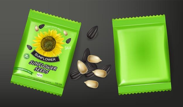 Paket mit sonnenblumenkernen Premium Vektoren