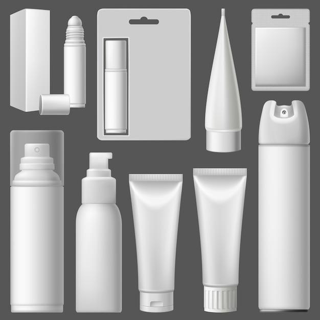 Pakete für cremelotion gel und balsam Kostenlosen Vektoren