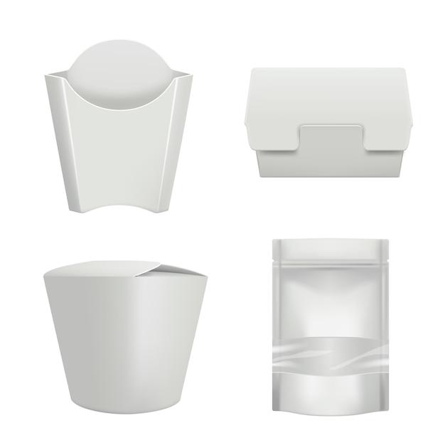 Pakete für lebensmittel. plastikbehälter für lieferungskaffeetassehamburger oder sandwichbeutelpappschachtel Premium Vektoren