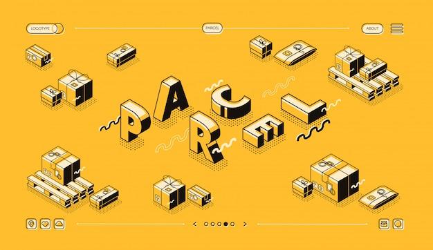 Paketlieferungs- und beitragslogistikillustration in der dünnen linie wortbuchstaben entwerfen. Kostenlosen Vektoren