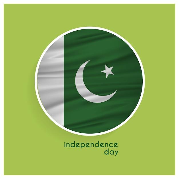 Pakistan flagge abzeichen für independence day auf grünem hintergrund Kostenlosen Vektoren