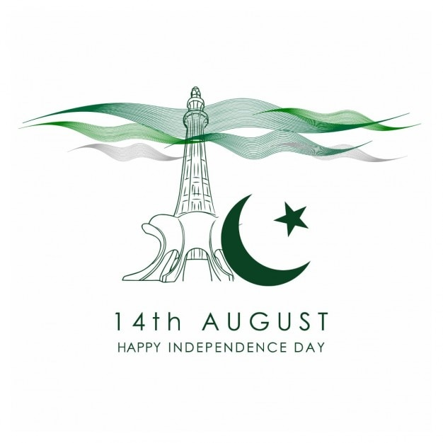 Pakistan independence day celebration-karte Kostenlosen Vektoren
