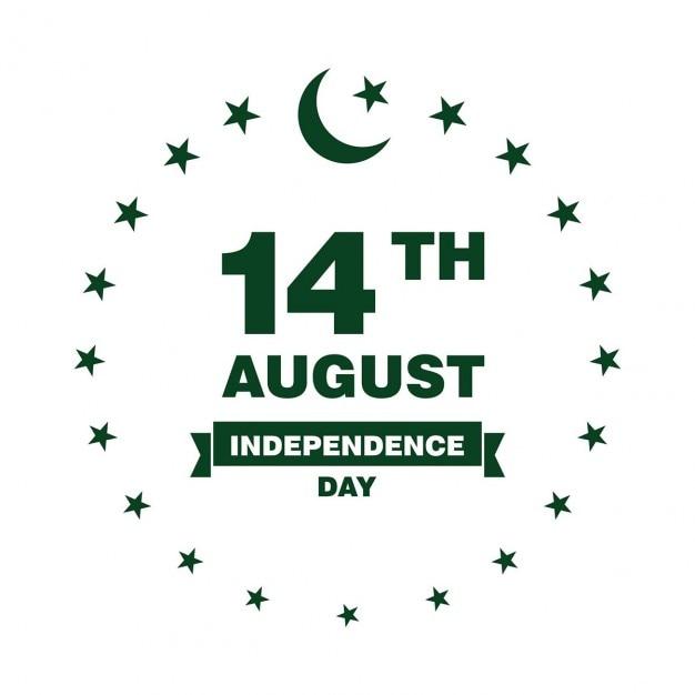 Pakistan independence day label Kostenlosen Vektoren