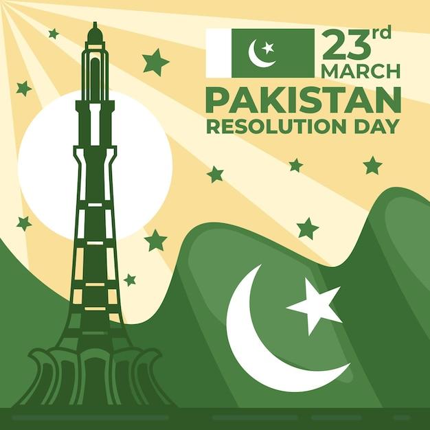 Pakistan-tagesillustration mit flagge und minar-e-pakistan-gebäude Kostenlosen Vektoren