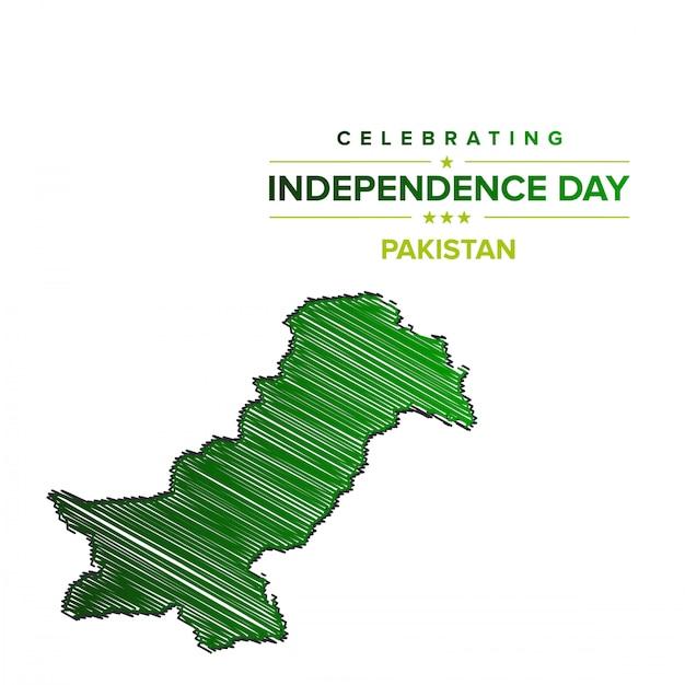 Pakistan-unabhängigkeitstag mit pakistan-karte. Kostenlosen Vektoren