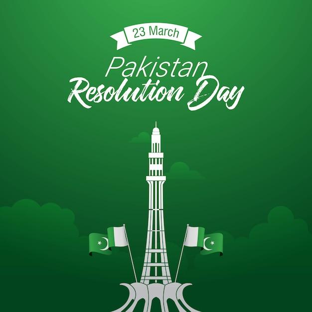 Pakistanischer auflösungstag Premium Vektoren