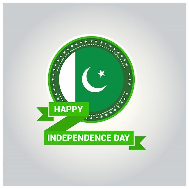 Pakistans flaggenabzeichen für independence day Kostenlosen Vektoren