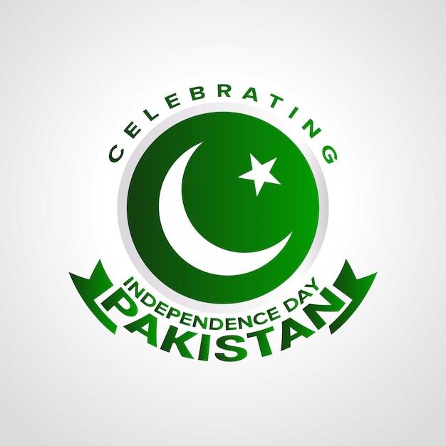 Pakistans unabhängigkeitstag mit typografie feiern. Kostenlosen Vektoren