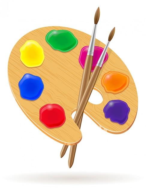 Palette für farben und bürstenvektorillustration Premium Vektoren