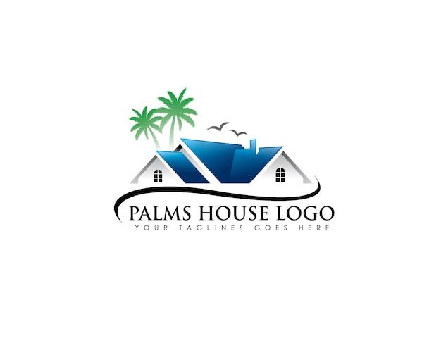 Palm realestate-logo Premium Vektoren