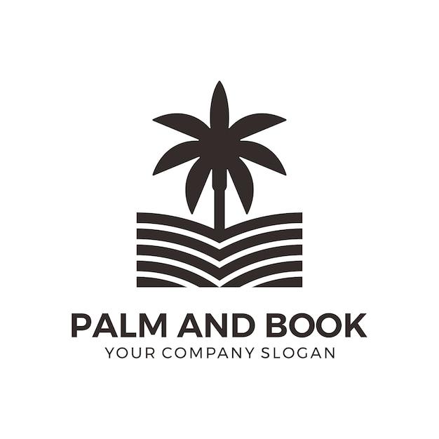 Palm und buch logo design Premium Vektoren