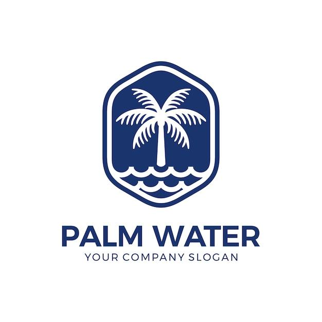 Palm und wasser logo Premium Vektoren