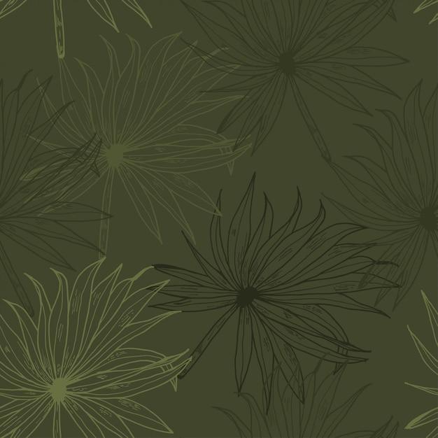 Palmblatt-kakifarbige linie hand gezeichnetes nahtloses muster Premium Vektoren