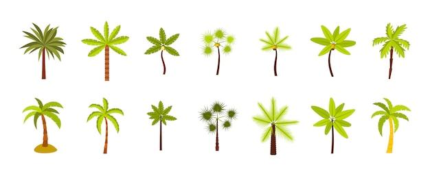 Palme-icon-set. flacher satz der palmevektor-ikonensammlung lokalisiert Premium Vektoren