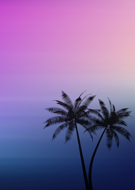 Palmen auf einem steigungshintergrund Kostenlosen Vektoren