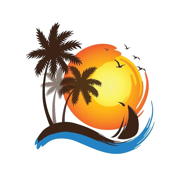 Palmen sonnenuntergang Premium Vektoren