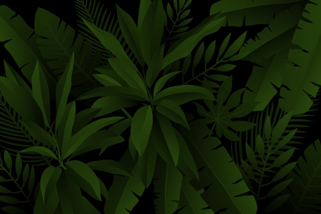 Palmen- und farnblätter realistischer dunkler tropischer hintergrund Kostenlosen Vektoren