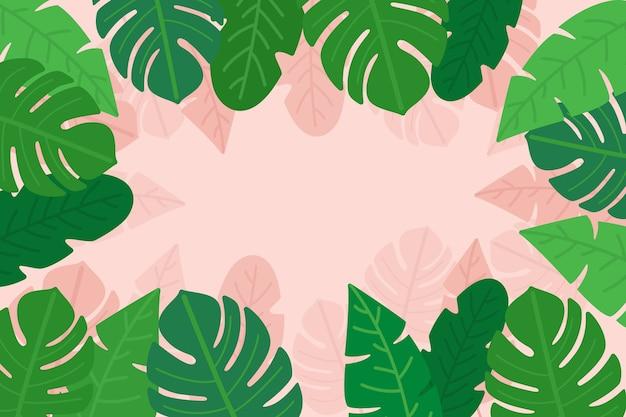 Palmen- und monsterblätter mit kopierraum Kostenlosen Vektoren