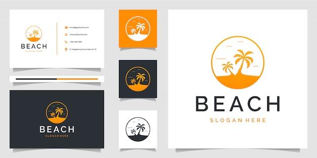 Palmenlogo mit strandthema und visitenkarte. das logo kann für branding, anzeigen, urlaub und urlaub verwendet werden Premium Vektoren