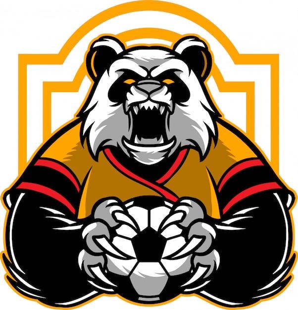 Panda-fußball Premium Vektoren