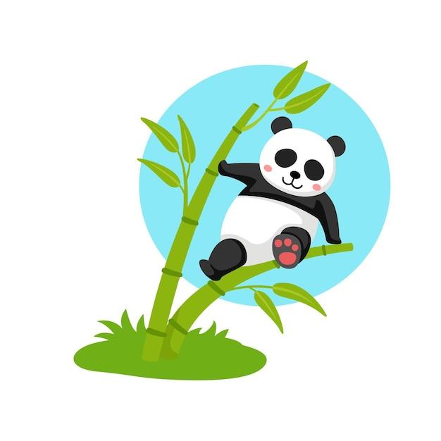 Panda hängt am bambus Premium Vektoren