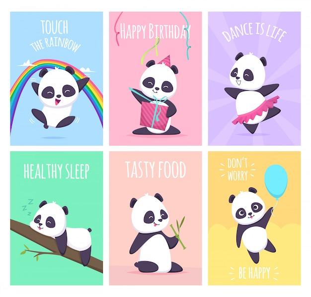 Panda-karten. niedliche kleine bärentiere decken plakatschablonensammlung ab Premium Vektoren