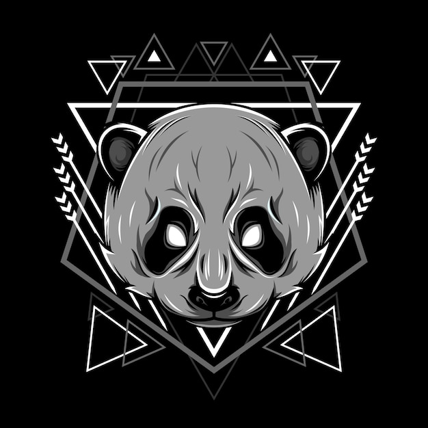 Panda kopf geometrie illustration Premium Vektoren
