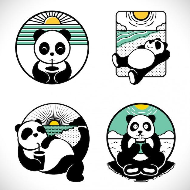 Panda label logo gesetzt Premium Vektoren