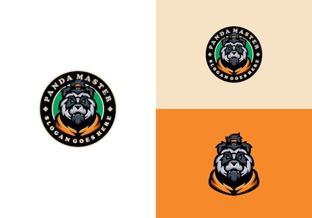 Panda maskottchen logo vorlage Premium Vektoren