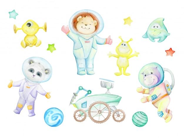 Panda, nilpferd, löwenbaby, außerirdische, mondwandler, planeten, sterne. aquarell-set, zeichnungen, astronauten. Premium Vektoren
