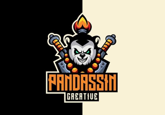 Panda sport maskottchen creative awesome logo-vorlage Premium Vektoren