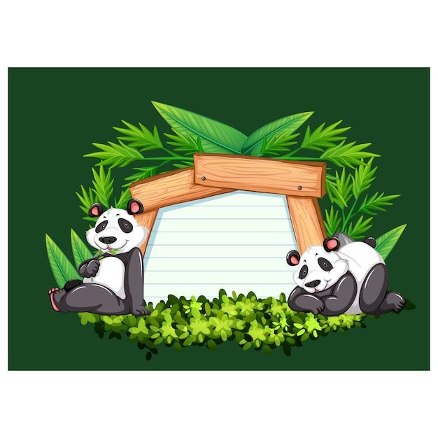 Panda trägt hintergrund-design Premium Vektoren