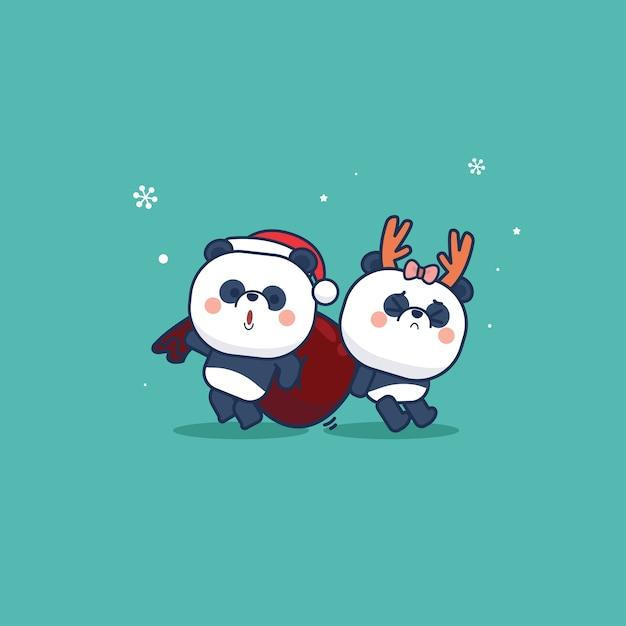 Panda tragen niedlichen tierkarikatur und flache art weihnachtsausgabe Premium Vektoren
