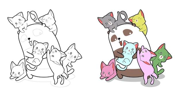Panda und baby katzen cartoon malvorlagen für kinder Premium Vektoren