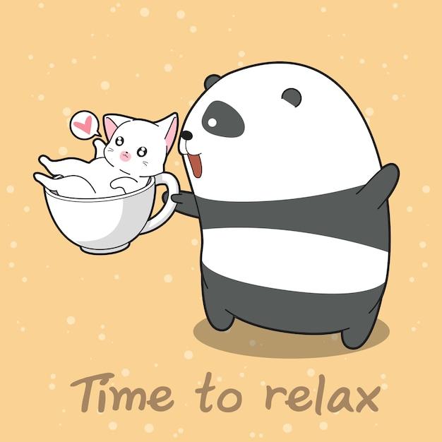 Panda und katze rechtzeitig zum entspannen. Premium Vektoren