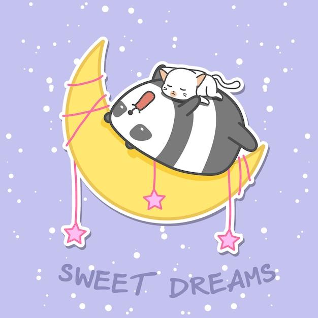 Panda und katze schlafen auf dem mond. Premium Vektoren