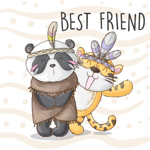 Panda und tiger bester freund Premium Vektoren