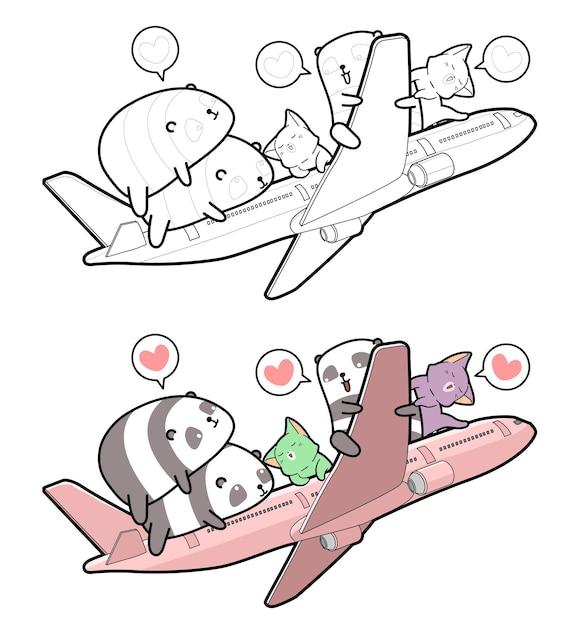 Pandas und katzen bekommen im flugzeug cartoon malvorlagen für kinder Premium Vektoren