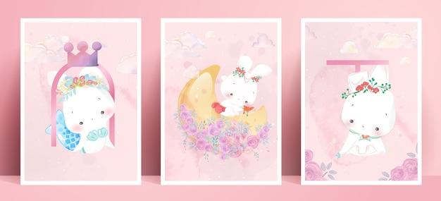 Panorama aquarell malerei lebensstil alltag kaninchen in menschlichen gesten romantische illustration in pastellfarbe ton. Premium Vektoren