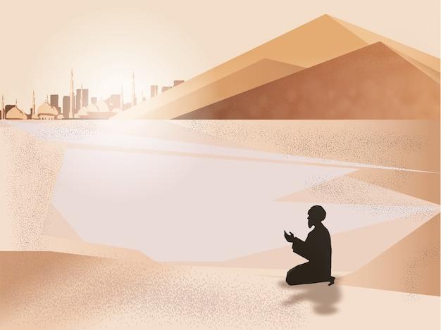 Panorama des muslimischen mannes beten in der wüste. Premium Vektoren
