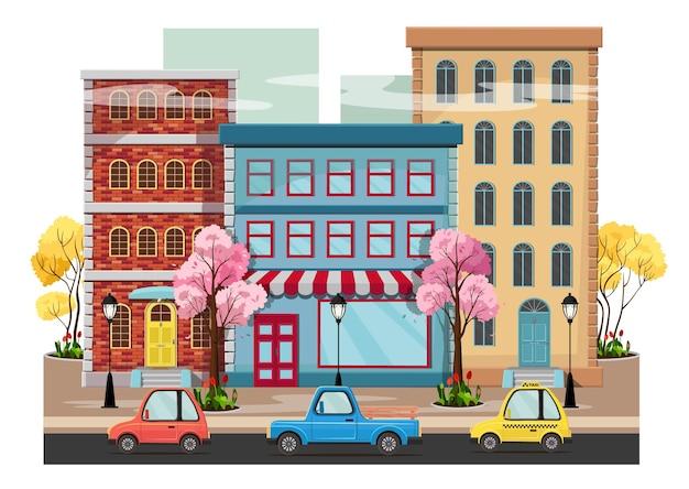 Panorama einer frühlingsstadt mit blühenden bäumen, häusern, laternen, straße mit autos. Premium Vektoren